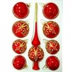 Наборы стеклянных шаров с верхушками (Елочка Россия)