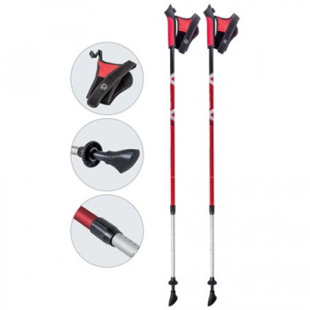 Палки для скандинавской ходьбы Ecos AQD-B017 red телескопические
