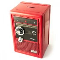 Копилка сейф с ключом Радио-ретро красная Эврика