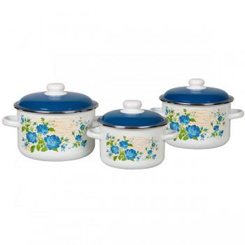 Набор кастрюль эмалированных Синяя Роза Стальэмаль №02 6КВ021М, 2 л, 3 л, 4 л