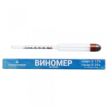Виномер-сахаромер бытовой Стеклоприбор (спирт 0-12%, сахар 0-25%)