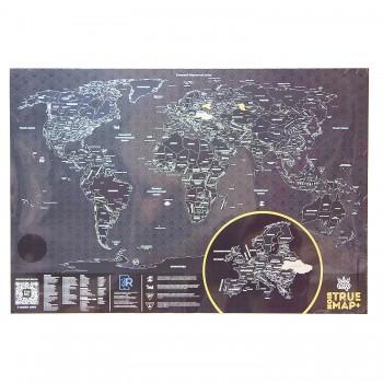 Скретч карта мира True Map Plus Noir (стирающаяся карта путешествий)