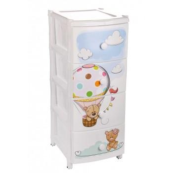 Комод пластиковый детский Медвежата М1701, 4 ящика