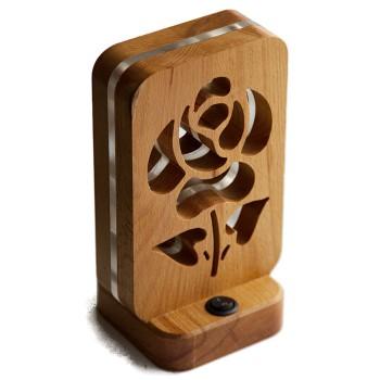 Светодиодный ночник из дерева Buken «Красная роза»