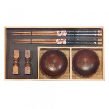 """Набор для суши № 40344 """"Теплое дерево"""" на 2 персоны, цвет - коричневый (2 пиалы, палочки для еды, подставки для палочек)"""