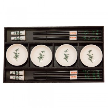 Набор для суши № 40400 на четыре персоны, рисунок - бамбук (4 пиалы, 4 пары палочек для еды, 4 подставки для палочек)