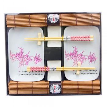 """Набор для суши № 40424 """"Розовый бамбук"""" на 2 персоны (4 пиалы, палочки 2 пары, подставки для палочек, коврики)"""