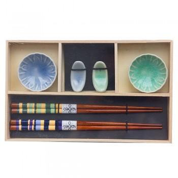 """Набор для суши № 40448 """"Бирюза"""" на 2 персоны (2 пиалы, палочки 2 пары, подставки для палочек)"""