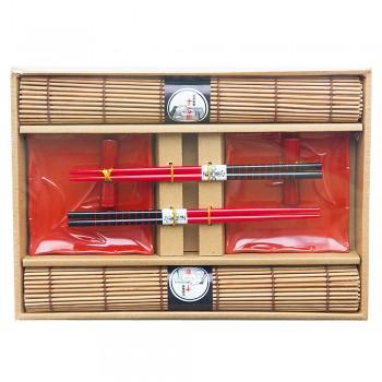 """Набор для суши № 40450 """"Самурайский огонь"""" на 2 персоны (2 пиалы, палочки 2 пары, подставки для палочек, 2 коврика)"""