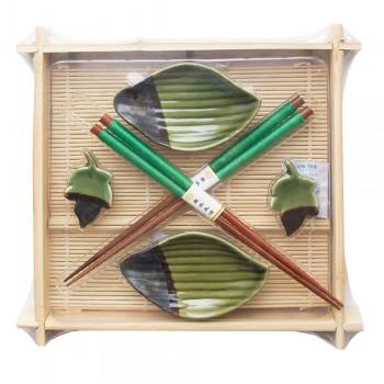 """Набор для суши № 40343 """"Зеленый лист"""" на 2 персоны (2 пиалы, палочки 2 пары, подставки для палочек)"""