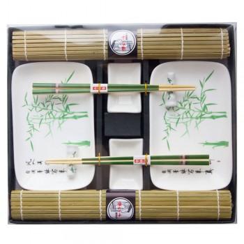 """Набор для суши № 40434 """"Бамбуковая роща"""" на 2 персоны (4 пиалы, палочки 2 пары, подставки для палочек, коврики)"""