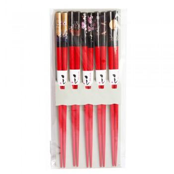 """Палочки для суши бамбуковые 40430 """"Пейзажи"""", 5 пар, красные"""