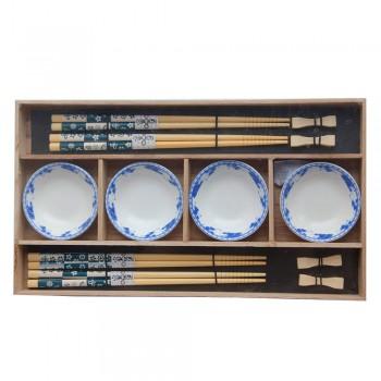 """Набор для суши № 40456 """"Синева"""" на четыре персоны, рисунок - бамбук (4 пиалы, 4 пары палочек для еды, 4 подставки для палочек)"""