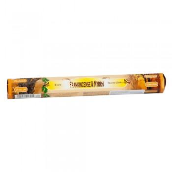 Благовония (ароматические палочки) Sarathi Frankincense & Myrrh (Ладан и Мирра) 20 шт. в упаковке (шестигранник)