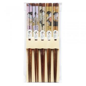 """Палочки для суши бамбуковые 40358 """"Девушки"""", 5 пар, коричневые"""
