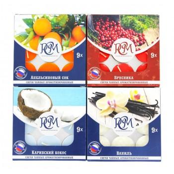 Чайные свечи ароматизированные набор 4 запаха: апельсиновый сок, брусника, карибский кокос, ваниль