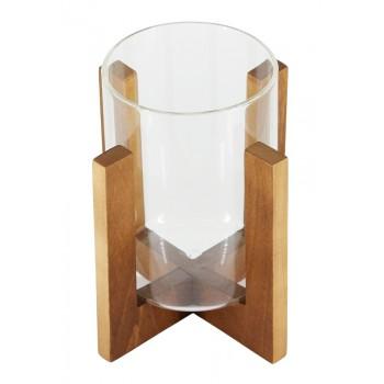 Подсвечник стеклянный на деревянной подставке Стеклоприбор, цвет орех, 80/110 мм