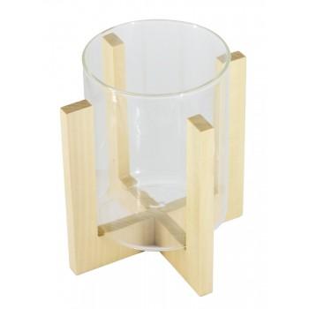 Подсвечник стеклянный на деревянной подставке, цвет натуральный, 90/118 мм