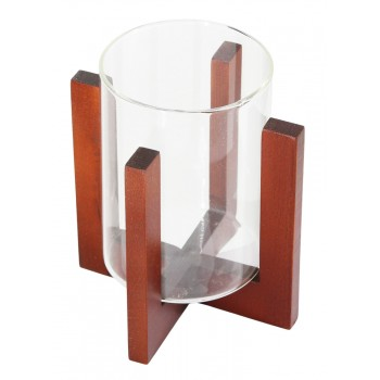 Подсвечник стеклянный на деревянной подставке, цвет вишня, 80/110 мм