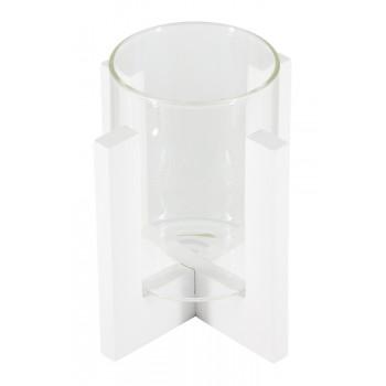 Подсвечник стеклянный на деревянной подставке белый, 70/95 мм