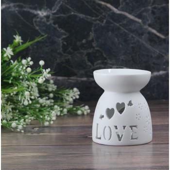 Аромалампа керамическая LOVE белая 9x7 см