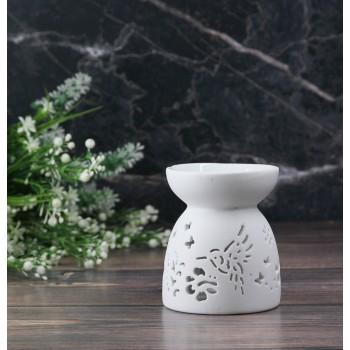 Аромалампа керамическая Колибри белая 9x7 см