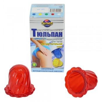 Массажер ТЮЛЬПАН для чувствительной кожи, красный (2 шт в коробке)