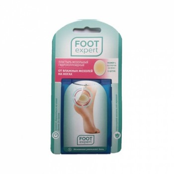 Пластырь мозольный гидроколлоидный (от 2 упак) Foot Expert 5 штук на пятку 4,4 см х 6,9 см размер L