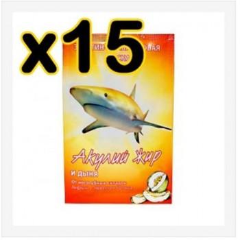 Бокс 15 шт Маска Акулий жир и дыня эластин - коллагеновая 10 мл (от носогубных складок)