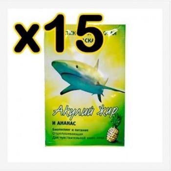 Бокс 15 шт.Маска Акулий жир и ананас эластин - коллагеновая 10 мл (биопиллинг и питание)
