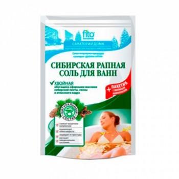 Соль для ванн Сибирская рапная Хвойная 500г+30г пакетик с травами в подарок