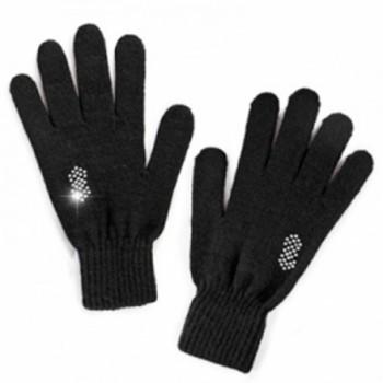 Перчатки со стразами из шерсти альпака женские чёрные