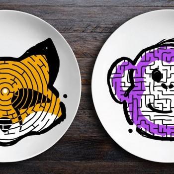 Набор тарелок лабиринтов ЗооЛаб (лис/мартышка)