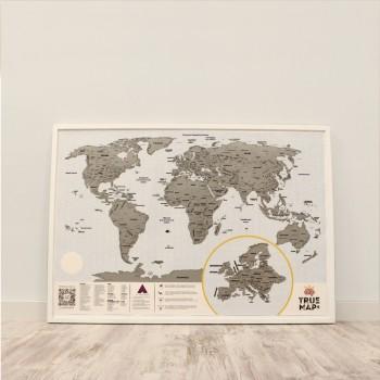 Скретч карта мира True Map Plus Silver (стирающаяся карта)