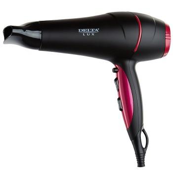 Фен DELTA LUX DL-0442, 2,4 кВт, черный с розовым