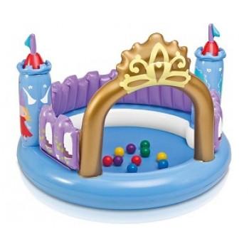 """Надувной игровой центр Intex 48669 """"Замок Принцессы"""", 130х91см, с 10 мячами и игрушкой, для детей от 3 до 6 лет"""