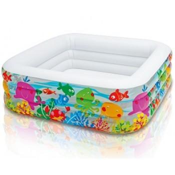 """Детский надувной бассейн Intex 57471 """"Аквариум"""", 159х159х50см, 424л, для детей от 3 лет"""
