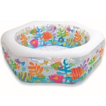 """Детский надувной бассейн Intex 56493 """"Аквариум"""" с надувным дном, 191х178х61см, 541л, для детей от 6 лет"""
