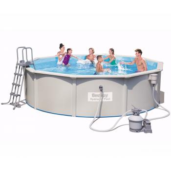 Бассейн стальной овальный BestWay Hydrium Oval Pool Set 56384 BW, 460х120 см, 17430 л (+песочный фильтр-насос 3785л/ч, лестница, подстилка)