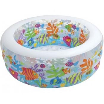 """Детский надувной бассейн Intex 58480 """"Аквариум"""" с надувным дном, 152х56см, 318л, для детей от 6 лет"""