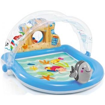 """Надувной игровой центр Intex 57421 """"Дельфин"""" с фонтаном, 170х150х81см, для детей от 2 лет"""