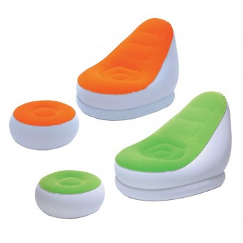 Надувное кресло BestWay Comfort Cruiser Inflate-A-Chair 75053 BW, 122х94х81 см с пуфиком для ног 54х54х26 см