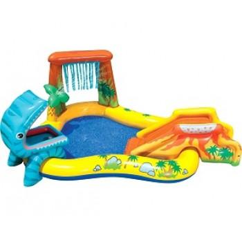 """Надувной игровой центр Intex 57444 """"Динозавр"""" с горкой, распылителем и шарами, 249х191х109см, 216л, для детей от 3 лет"""