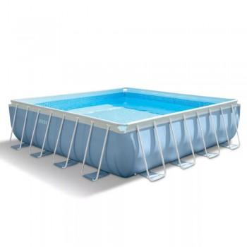 Каркасный бассейн Intex Prism Frame 28766, 488х488х122см, 25007л (+фильтр-насос 5678л/ч, лестница, тент, подстилка)