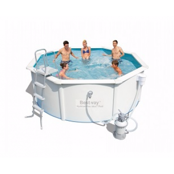 Бассейн стальной BestWay Hydrium Pool Set 56574 BW, 360х120см, 10990л (песочный фильтр-насос 2006л/ч, лестица, подстилка)