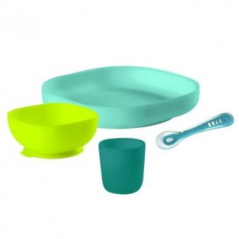 "Набор посуды - 2 тарелки, стакан, ложка Beaba ""SILICONE MEAL SET"", 913428 / Green"