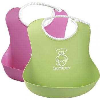 Нагрудник мягкий пластиковый (2 шт.) BabyBjorn, 01 / Розовый-зеленый