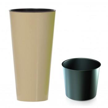 Садовое кашпо для цветов TUBUS SLIM SHINE DTUS300S-7502U кофе 2 предмета 15 и 27л