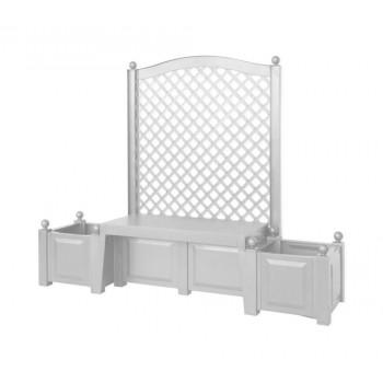 "Садовая скамейка KHW 43501 ""Копенгаген"", с двумя клумбами и шпалерами, белая (2кор)"