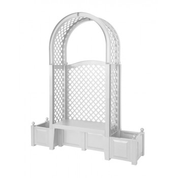"""Садовая арочная скамейка KHW 43801 """"Амстердам"""", с двумя клумбами и шпалерами, белая (2кор)"""